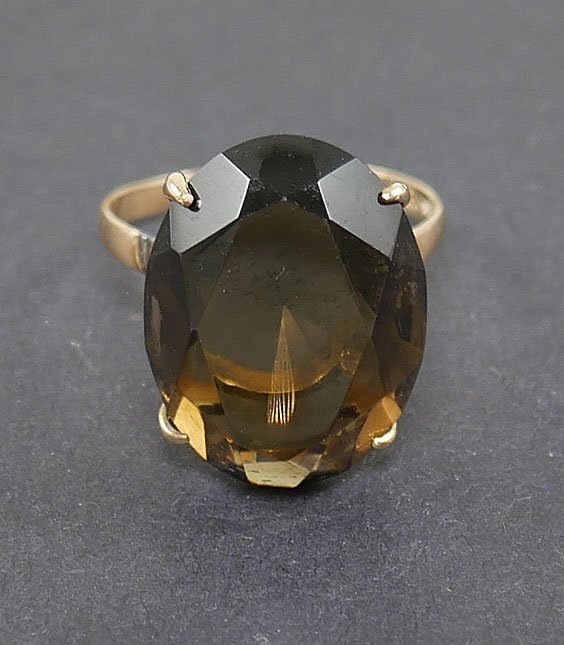 14k Gold SMOKY TOPAZ Ring - 2