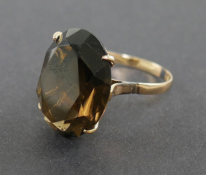 14k Gold SMOKY TOPAZ Ring - 4
