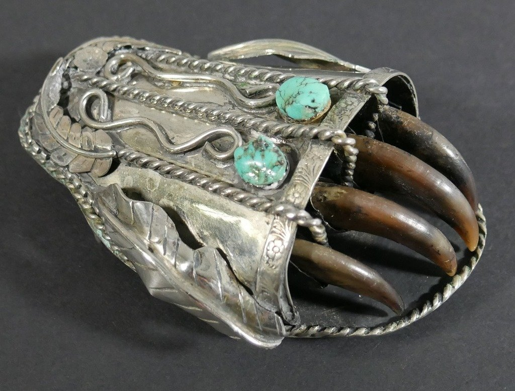 Navajo BELT BUCKLE Silver Turquoise Bear Claw