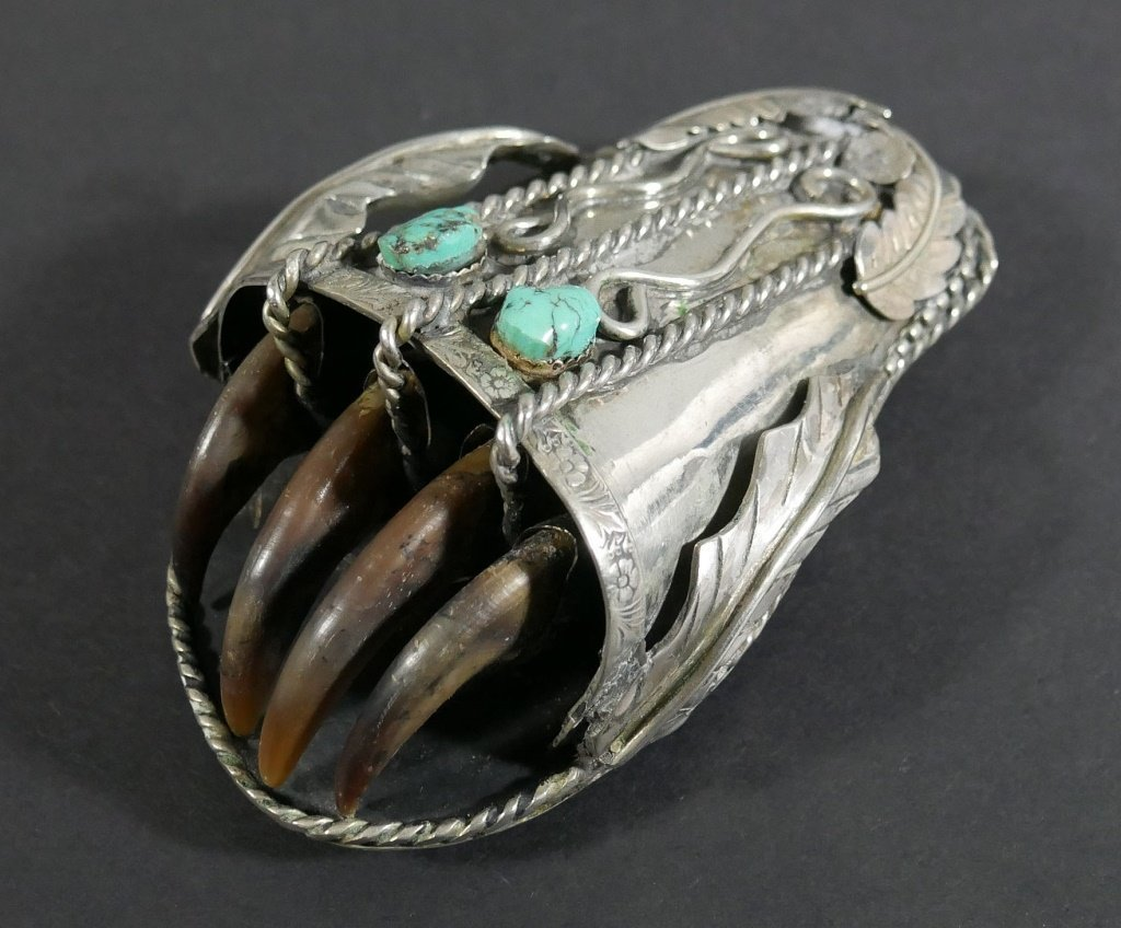 Navajo BELT BUCKLE Silver Turquoise Bear Claw - 2