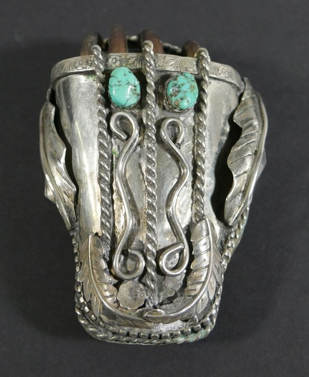 Navajo BELT BUCKLE Silver Turquoise Bear Claw - 3