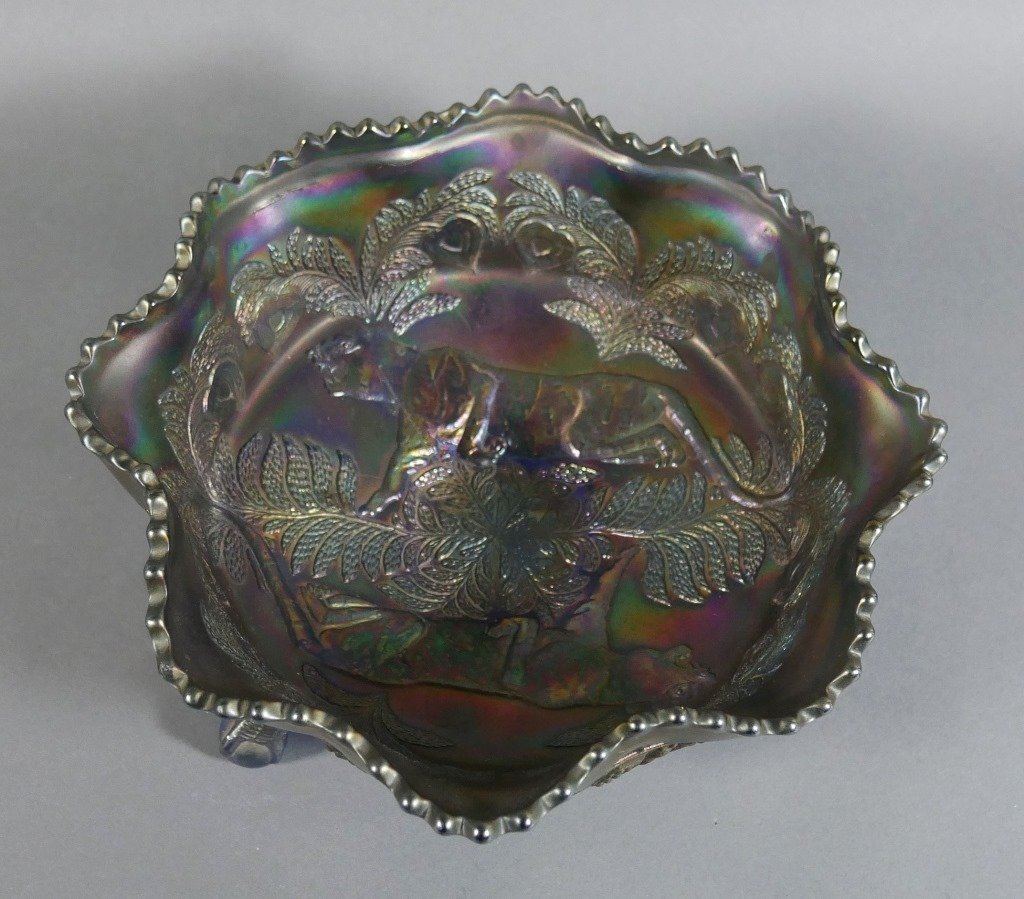 Fenton PANTHER Carnival Glass Blue Iridescent Bowl