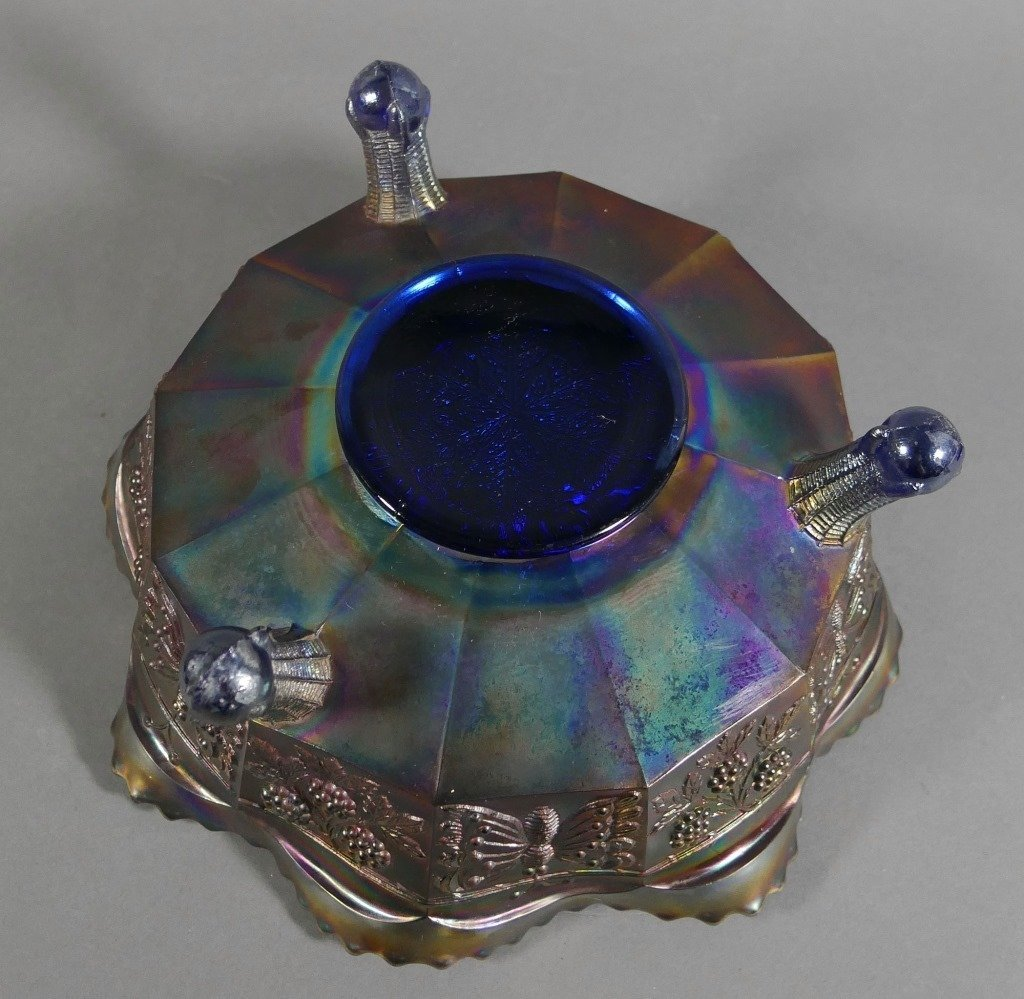 Fenton PANTHER Carnival Glass Blue Iridescent Bowl - 5