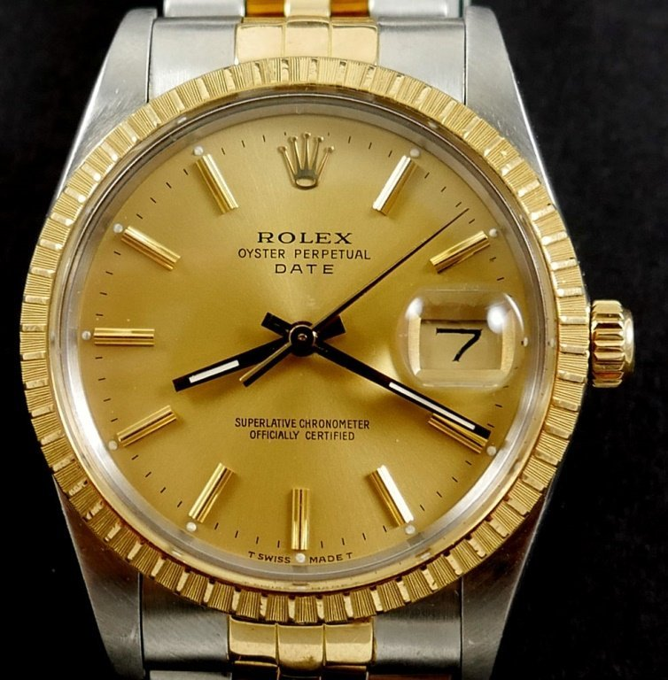 ROLEX Mens Oyster Perpetual DATE Watch 18k/SS