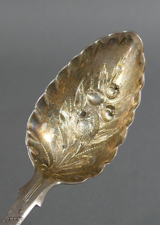 1849 London Sterling Silver BERRY SPOON Repousse - 2