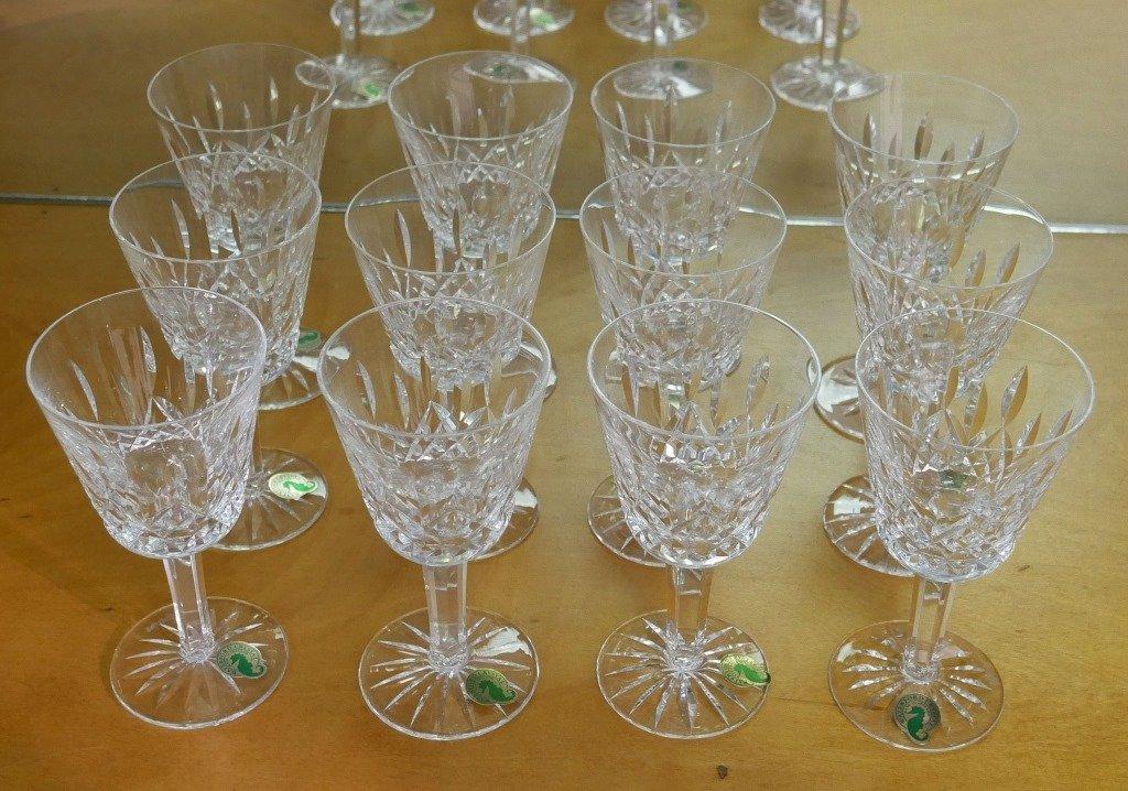 """12 WATERFORD LISMORE Crystal 5-3/4"""" Wine Glasses"""