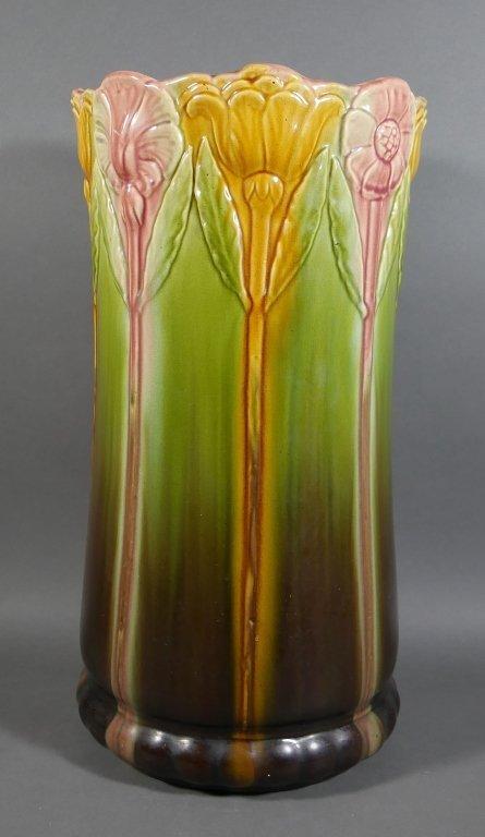 WELLER Art Pottery Floral Umbrella Stand - 2