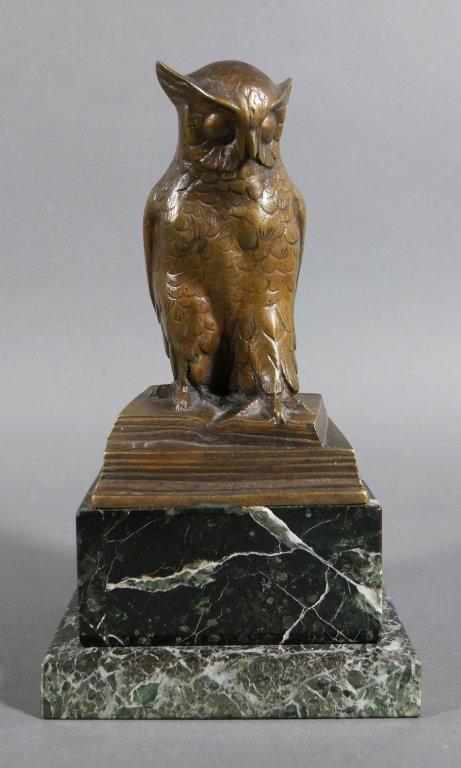 Bronze OWL Signed HERTZ on Marble Base