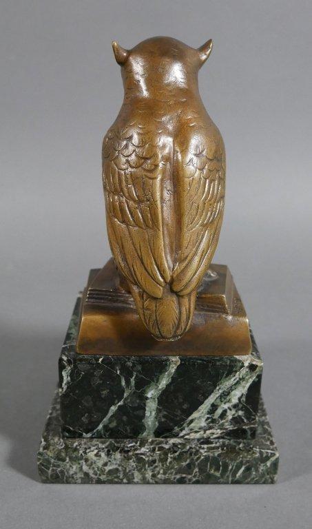 Bronze OWL Signed HERTZ on Marble Base - 5