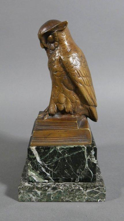 Bronze OWL Signed HERTZ on Marble Base - 6