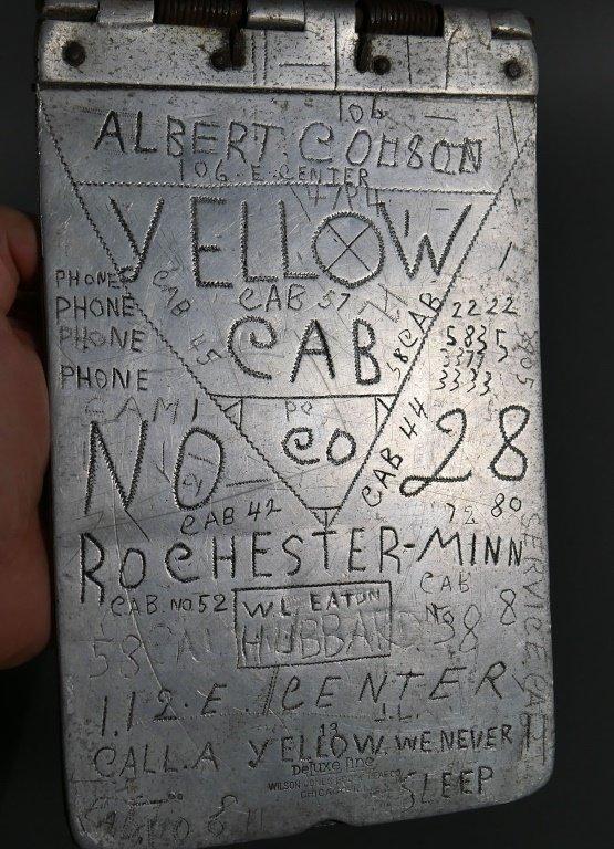 1930s Folk Art YELLOW CAB CO Cabbie Clipboards - 5