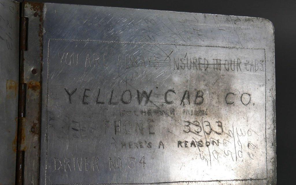 1930s Folk Art YELLOW CAB CO Cabbie Clipboards - 7