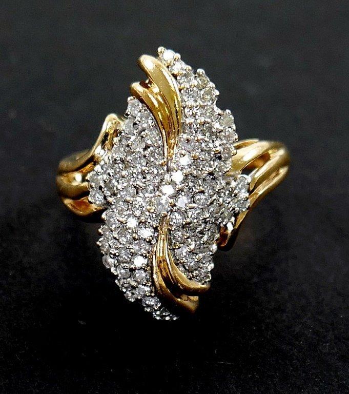 14k Gold DIAMOND Cluster Ring 1 ct total