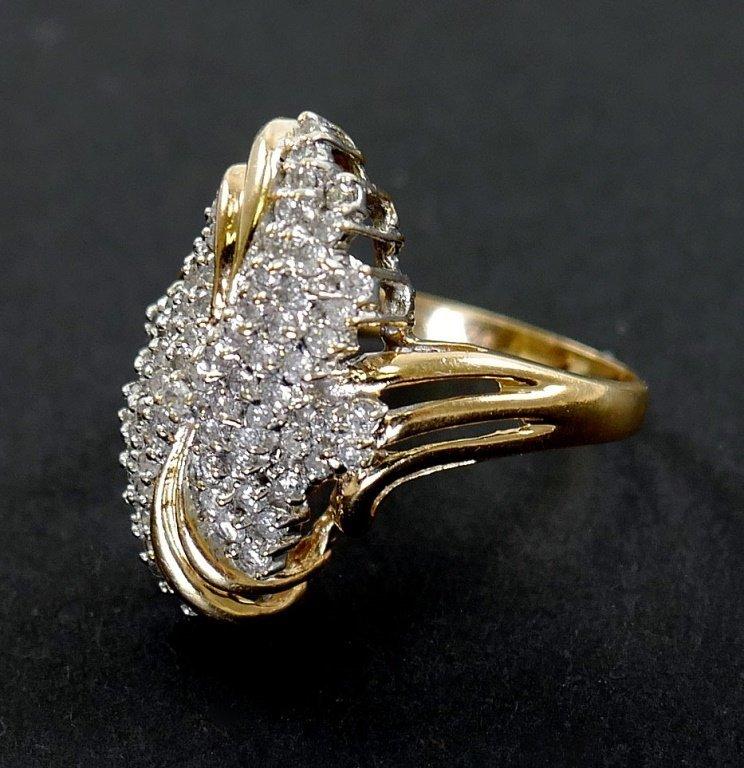 14k Gold DIAMOND Cluster Ring 1 ct total - 2