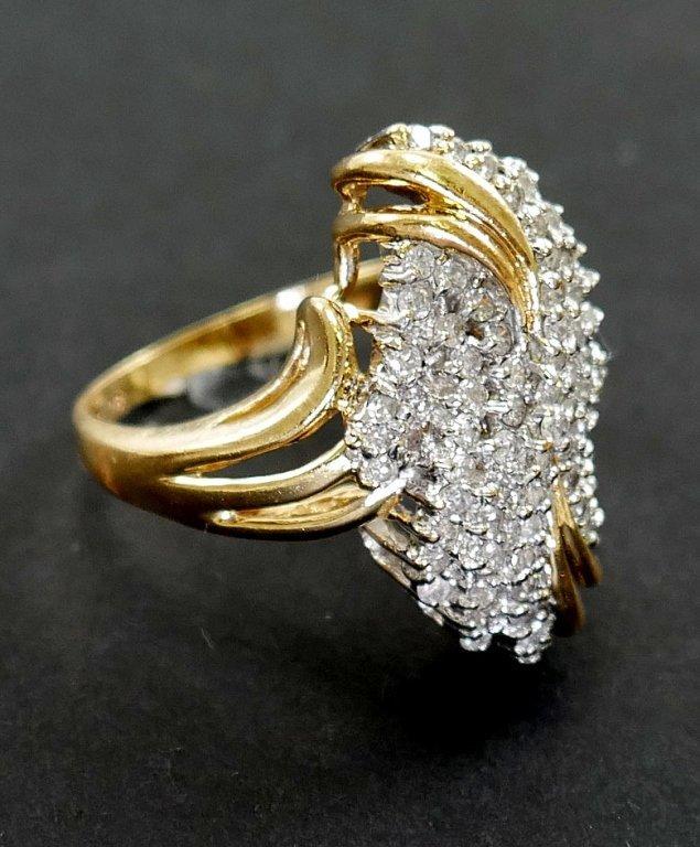 14k Gold DIAMOND Cluster Ring 1 ct total - 3