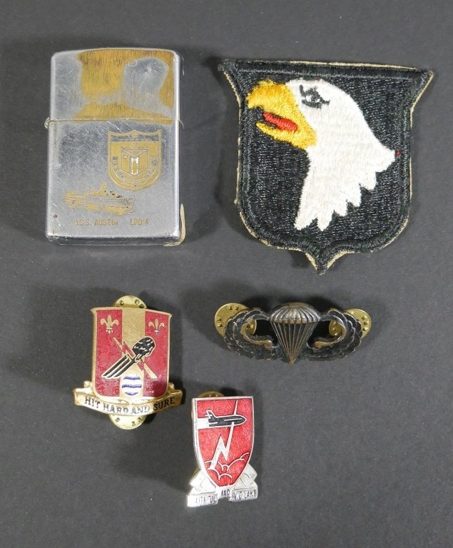 Old Military Pins, Patches and Zippo Lighter