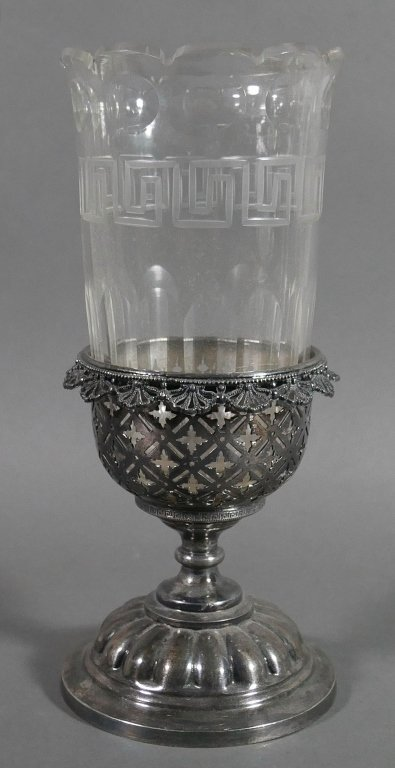 Ornate Victorian Glass & Silver Celery Holder