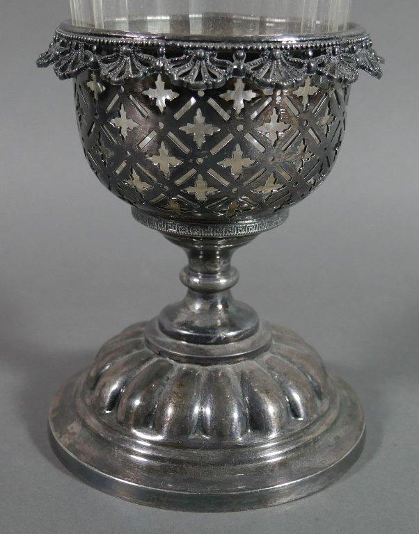Ornate Victorian Glass & Silver Celery Holder - 2