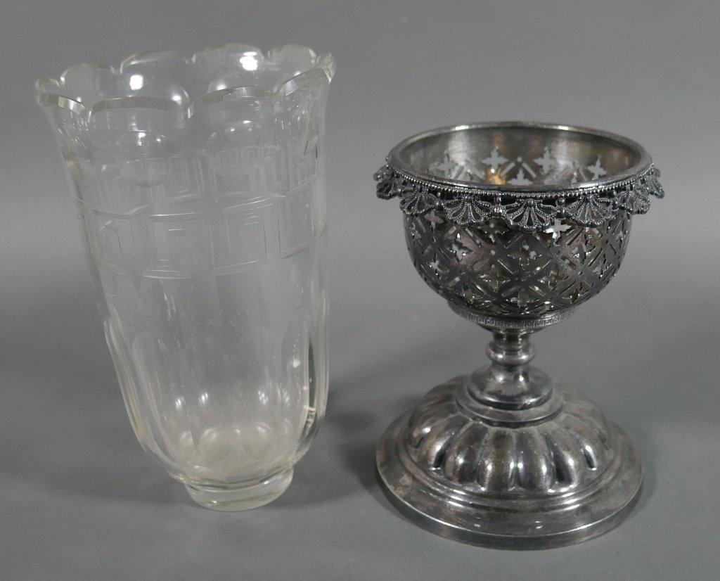 Ornate Victorian Glass & Silver Celery Holder - 3