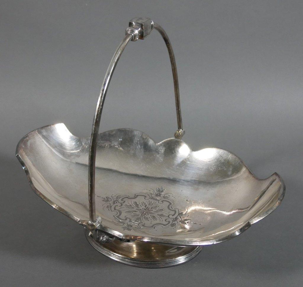 Ornate Silverplated Victorian Handled Basket