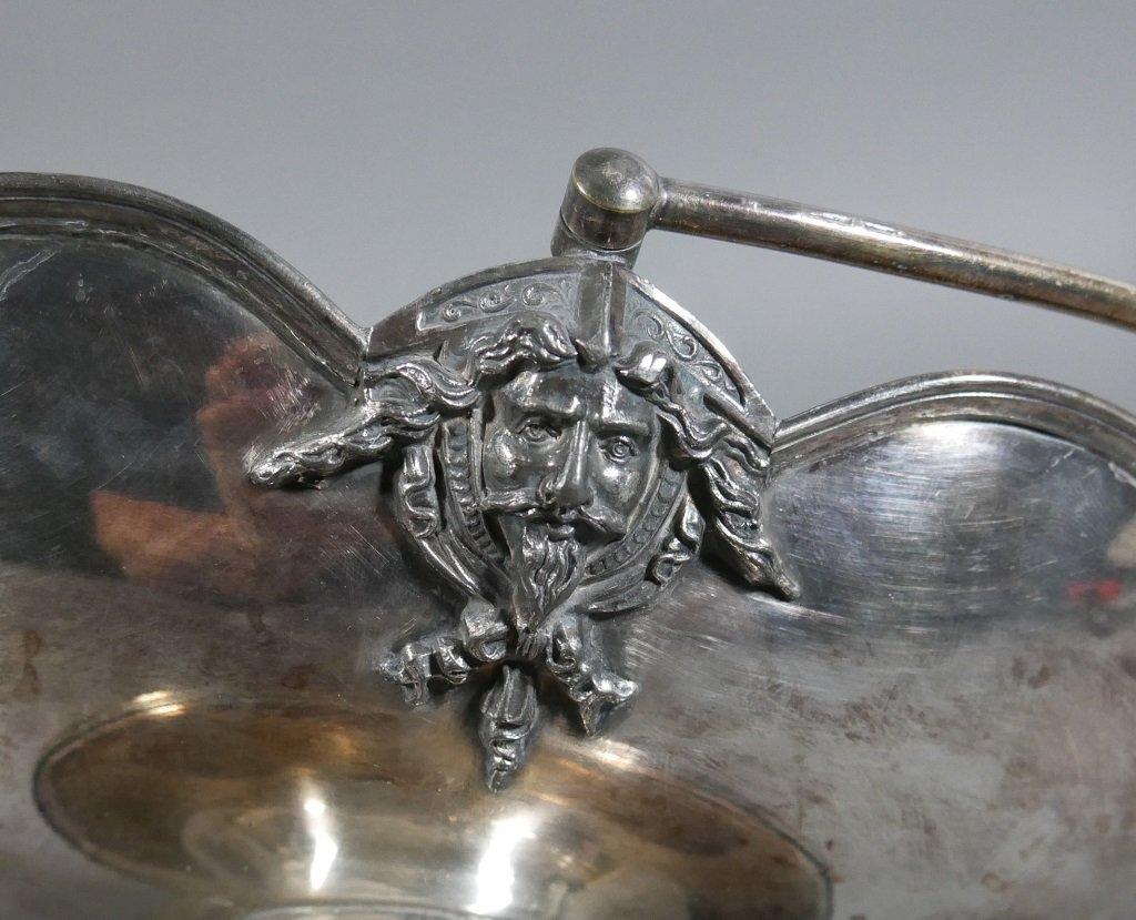 Ornate Silverplated Victorian Handled Basket - 5