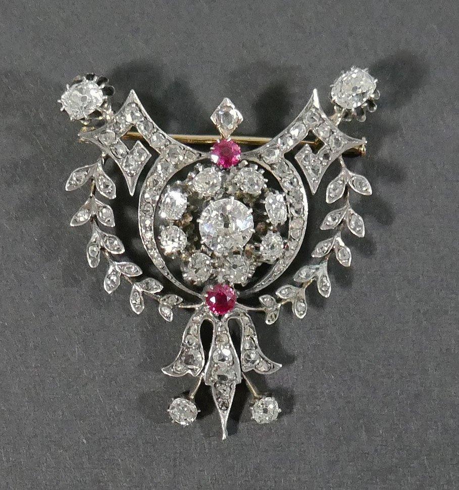 Antique Victorian DIAMOND BROOCH 3 Carats