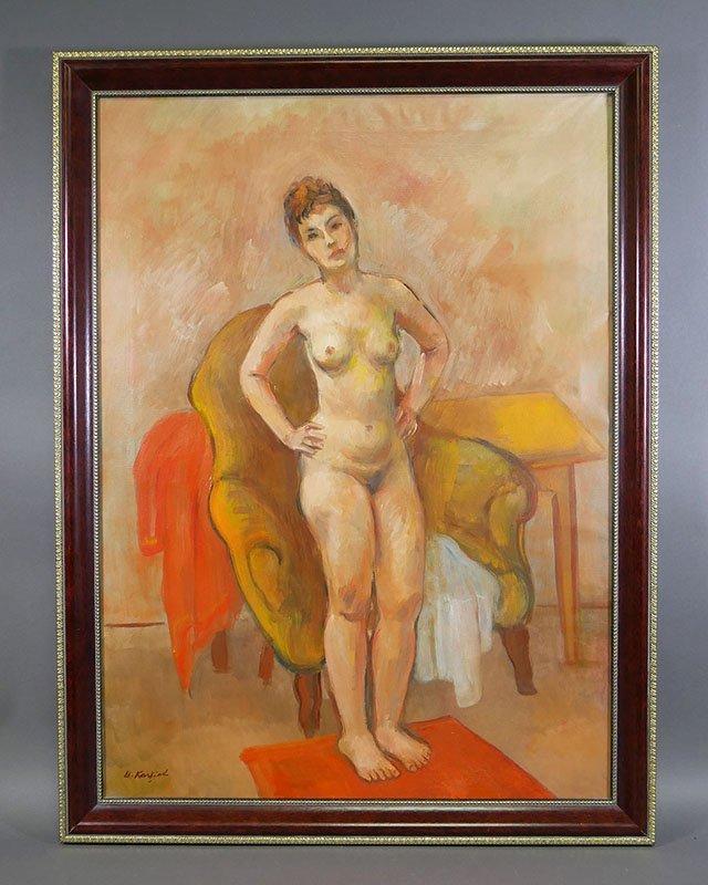 BERNARD KARFIOL Nude Oil on Canvas Painting