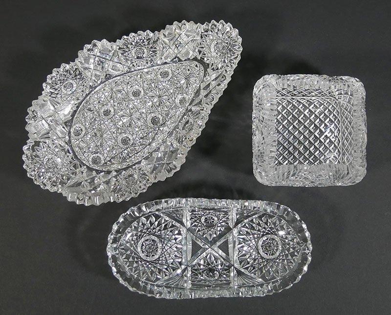 3 Pieces ABP Cut Glass