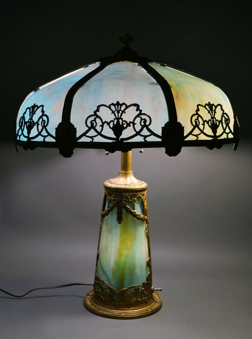 1920s Empire Openwork Slag Glass Lamp