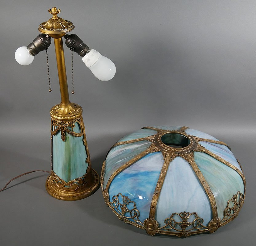 1920s Empire Openwork Slag Glass Lamp - 2