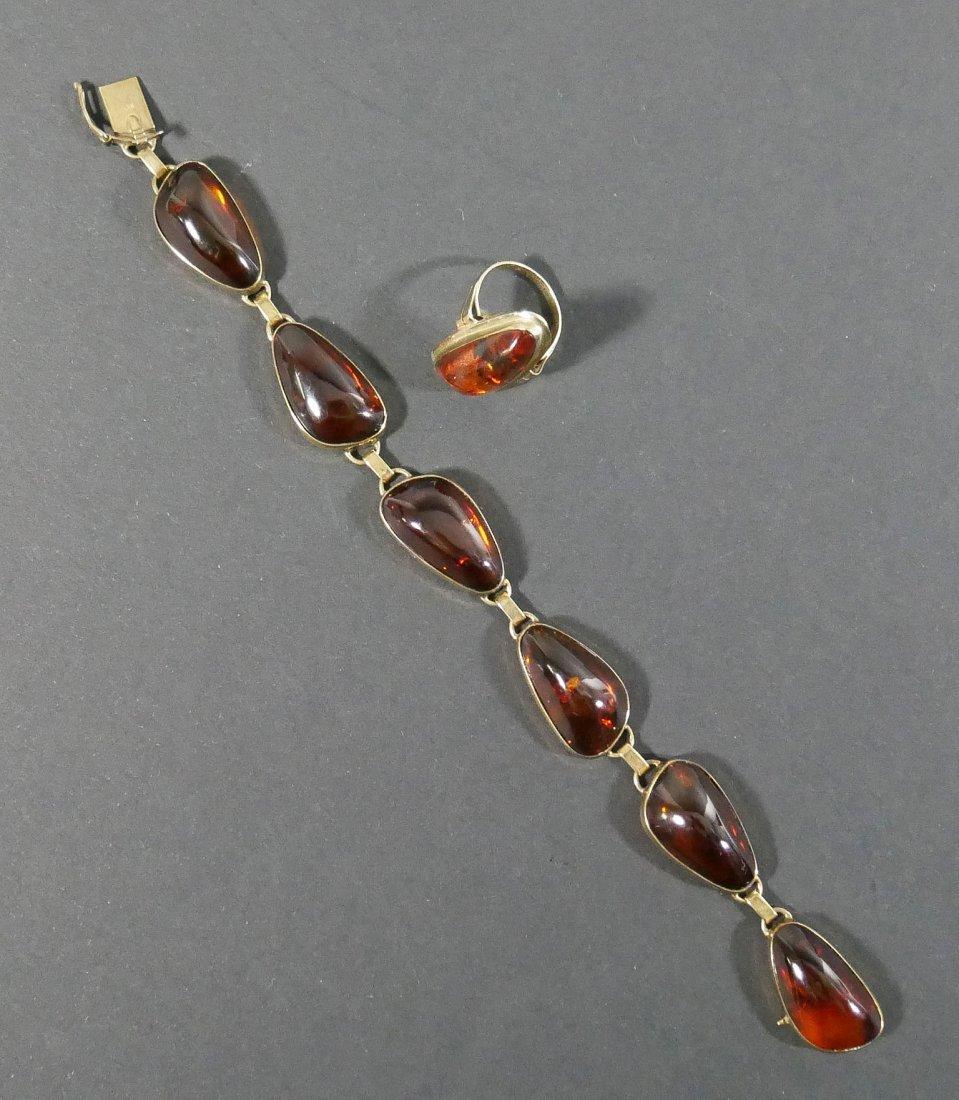 Vintage 8k Yellow Gold AMBER Ring & Bracelet - 3