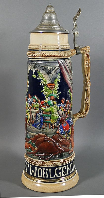 "Gerz Signed German Large Beer Stein, 18"" high"