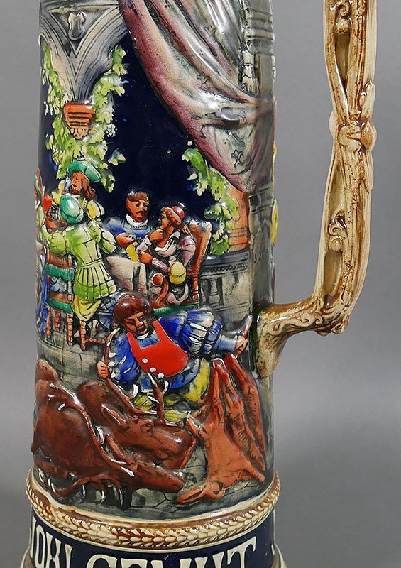"Gerz Signed German Large Beer Stein, 18"" high - 3"
