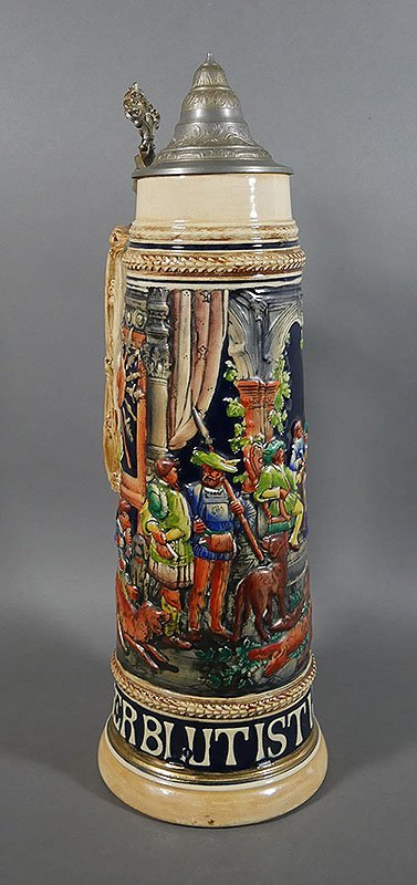 "Gerz Signed German Large Beer Stein, 18"" high - 5"