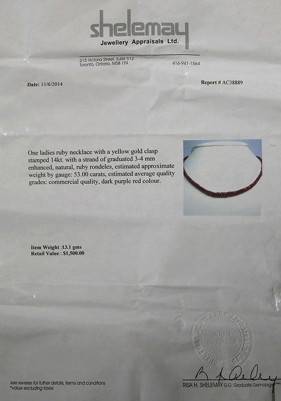 Graduated RUBY Rondele 53 carat Necklace - 3