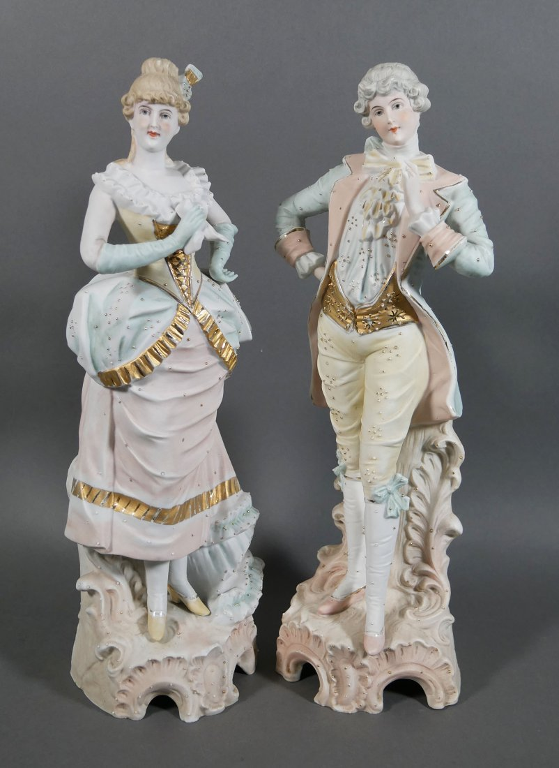 Pair German Bisque Figurines Man and Woman