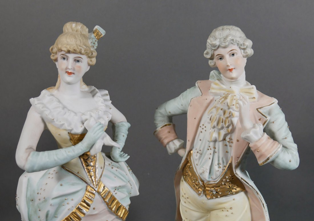 Pair German Bisque Figurines Man and Woman - 2