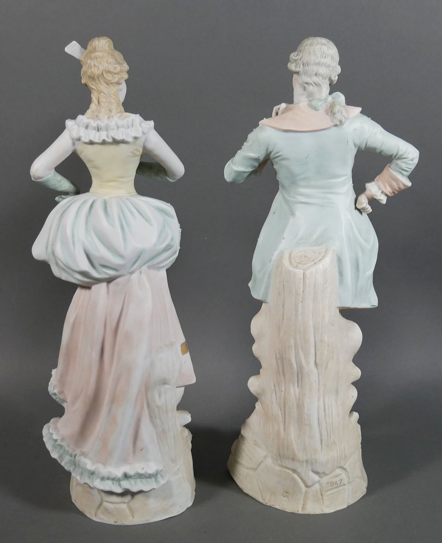 Pair German Bisque Figurines Man and Woman - 3