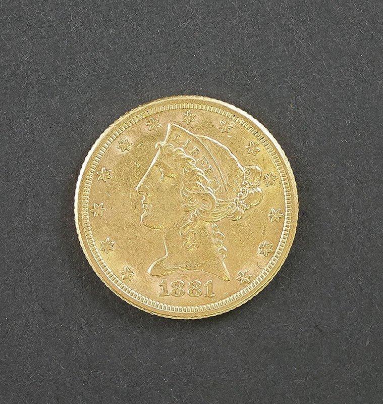 1881 $5 Liberty Gold Coin