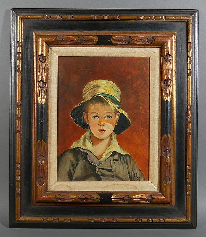 Midcentury Portrait of Young Boy with Hat