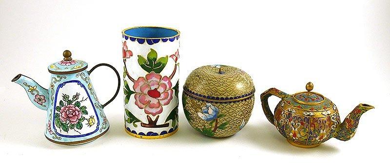 4 Pcs Vintage Cloisonne, incl Teapot and Vase