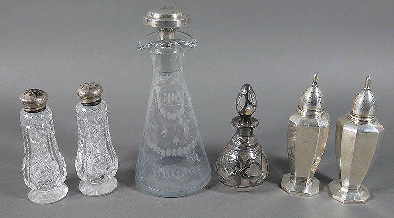 Crystal & Sterling Salt & Pepper, Condiment Bottle