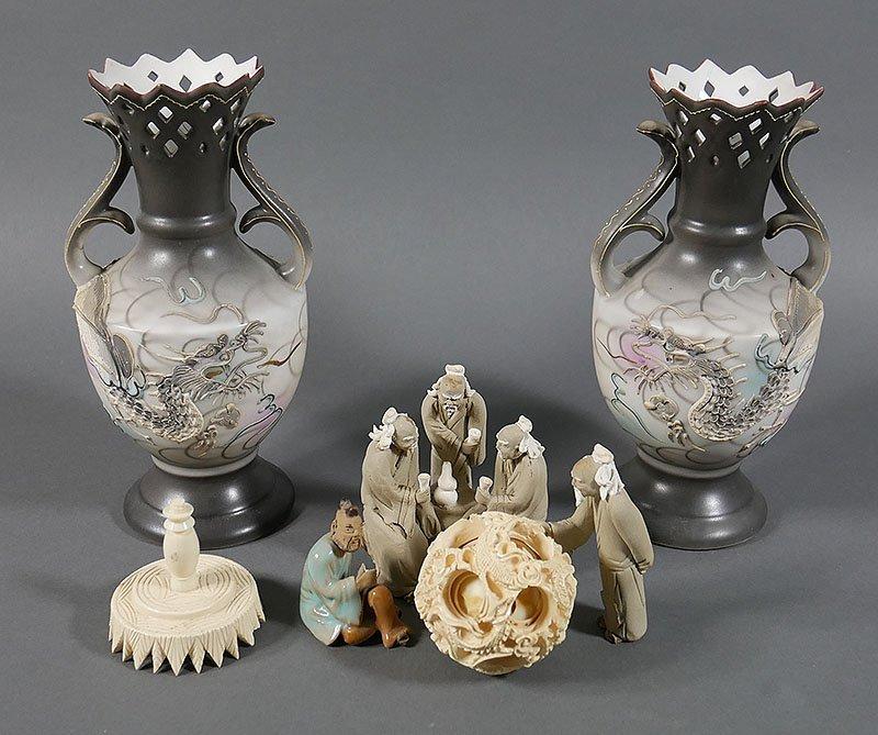 Asian Lot, Satsuma Vases, Puzzle Ball, Mud Men