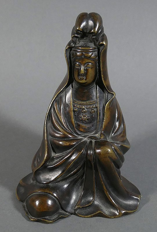 Antique Bronze Chinese Seated Guanyin Statue