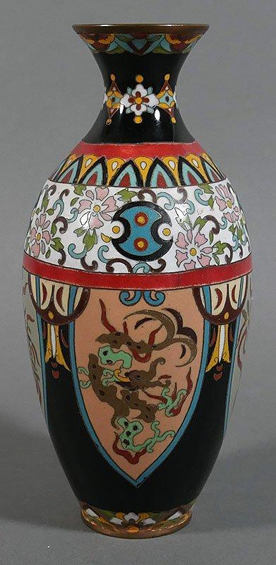 Antique Japanese Cloisonne Dragon Phoenix Vase