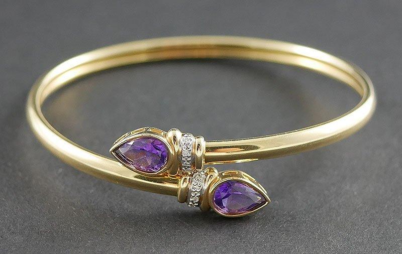 14k Gold Snake Bracelet Amethyst & Diamonds