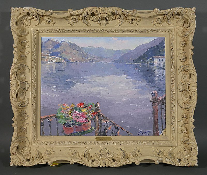 PIERRE BITTAR Lake Como Oil on Canvas Painting