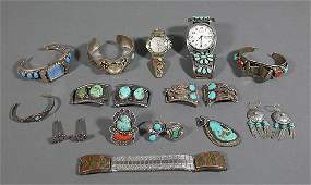 Lot of Vintage Navajo Silver  Turquoise Jewelry