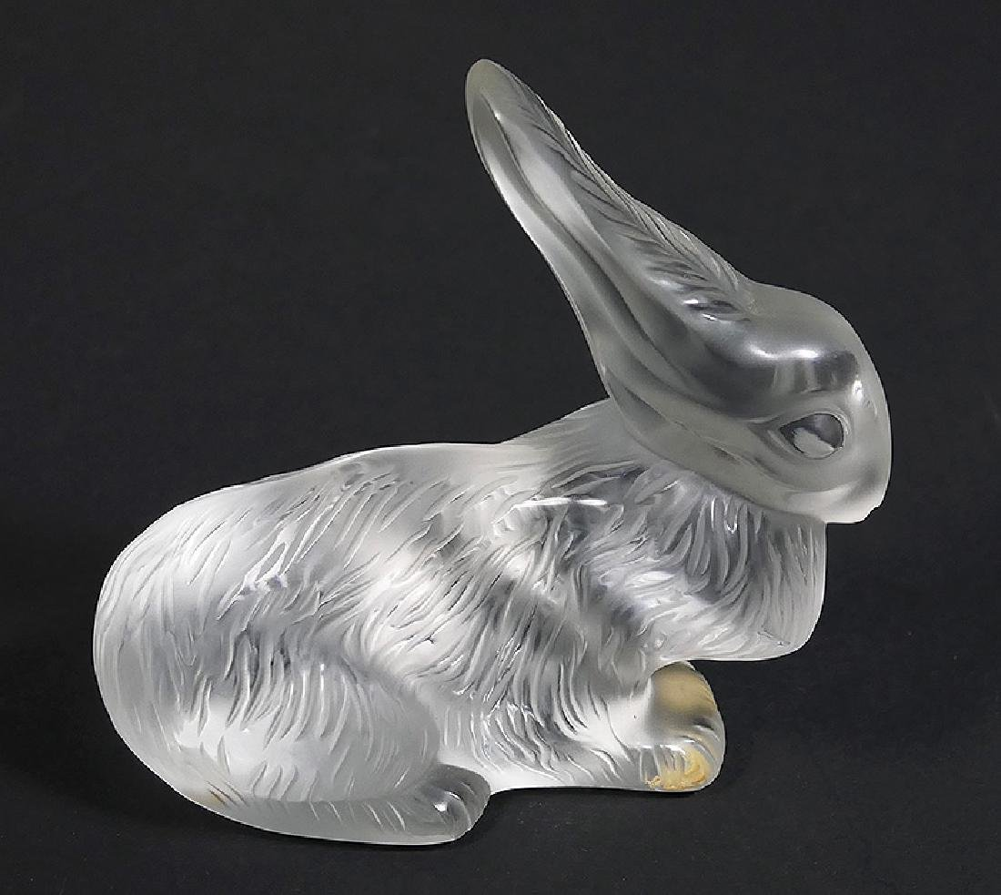 Lalique French Art Glass Rabbit Paperweight