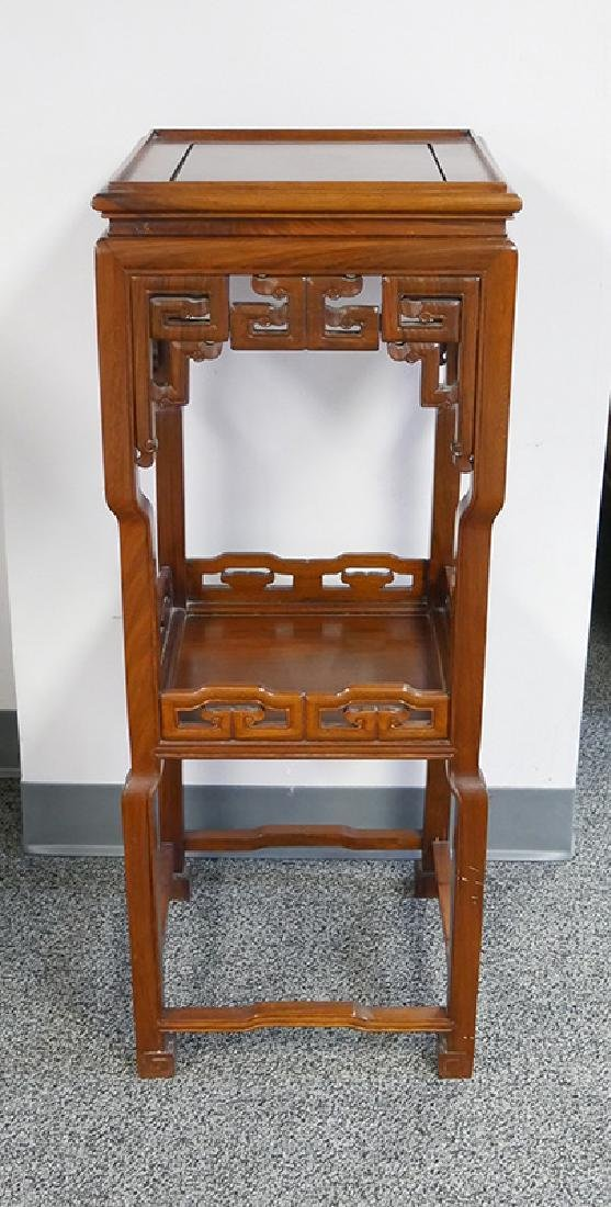 Chinese 2-Tier Mahogany Plant Stand Pedestal